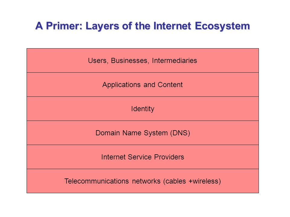 A Primer: Layers of the Internet Ecosystem Telecommunications networks (cables +wireless) Internet Service Providers Domain Name System (DNS) Identity Applications and Content Users, Businesses, Intermediaries