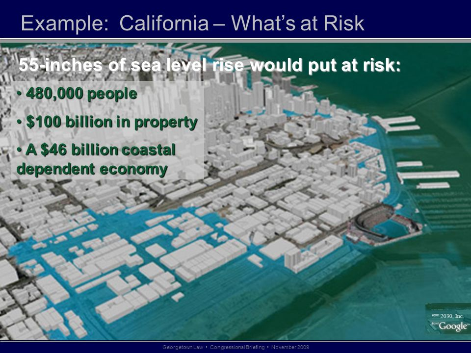 Example: California – Whats at Risk 480,000 people 480,000 people $100 billion in property $100 billion in property A $46 billion coastal dependent economy A $46 billion coastal dependent economy 55-inches of sea level rise would put at risk: Georgetown Law Congressional Briefing November 2009