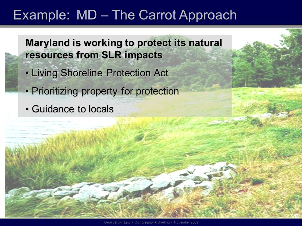 Example: MD – The Carrot Approach Georgetown Law Congressional Briefing November 2009 Maryland is working to protect its natural resources from SLR impacts Living Shoreline Protection Act Living Shoreline Protection Act Prioritizing property for protection Prioritizing property for protection Guidance to locals Guidance to locals