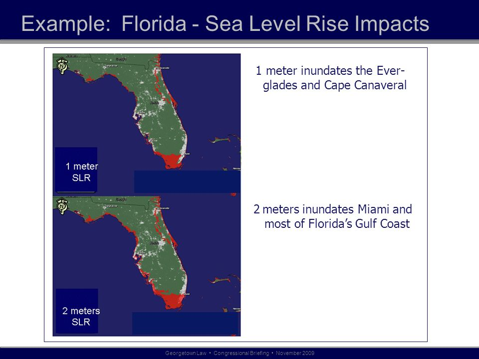 Example: Florida - Sea Level Rise Impacts 1 meter inundates the Ever- glades and Cape Canaveral Georgetown Law Congressional Briefing November meters inundates Miami and most of Floridas Gulf Coast