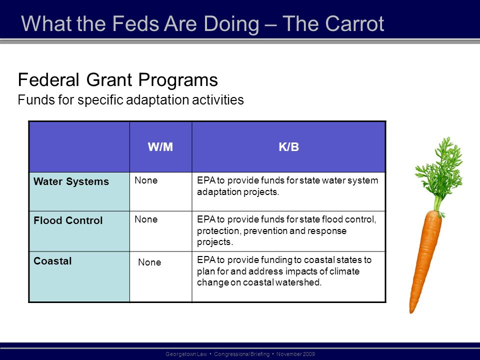 What the Feds Are Doing – The Carrot Federal Grant Programs Funds for specific adaptation activities W/MK/B Water Systems NoneEPA to provide funds for