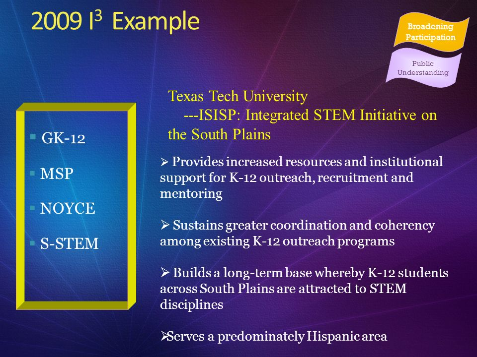 2009 I 3 Example GK-12 MSP NOYCE S-STEM Texas Tech University ---ISISP: Integrated STEM Initiative on the South Plains Provides increased resources an