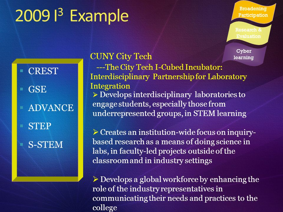 2009 I 3 Example CREST GSE ADVANCE STEP S-STEM CUNY City Tech ---The City Tech I-Cubed Incubator: Interdisciplinary Partnership for Laboratory Integra