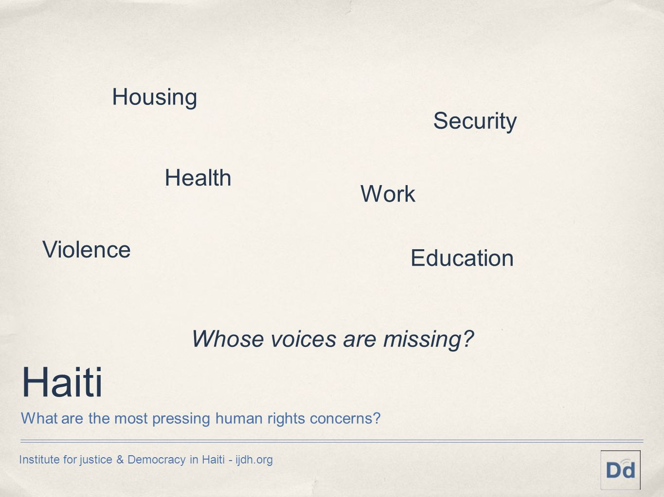 Haiti What are the most pressing human rights concerns? Housing Security Violence Health Education Whose voices are missing? Work Institute for justic