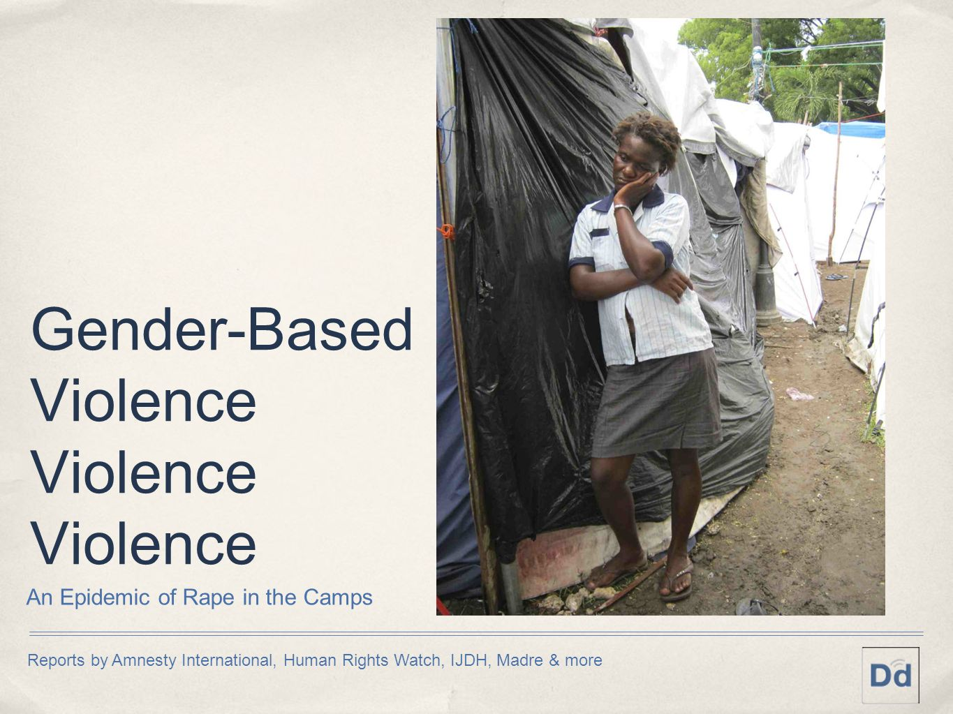 Gender-Based Violence Violence Violence An Epidemic of Rape in the Camps Reports by Amnesty International, Human Rights Watch, IJDH, Madre & more