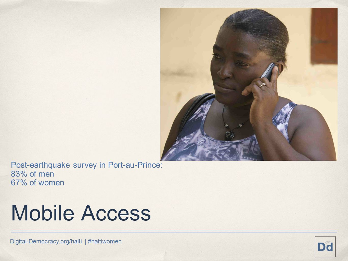Digital-Democracy.org/haiti | #haitiwomen Mobile Access Post-earthquake survey in Port-au-Prince: 83% of men 67% of women