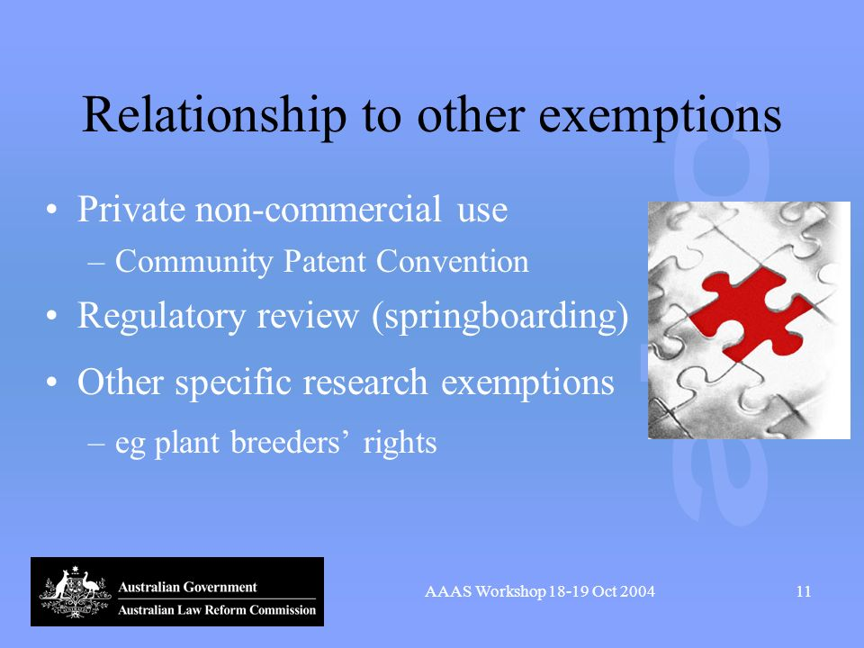 AAAS Workshop 18-19 Oct 200411 Relationship to other exemptions Private non-commercial use –Community Patent Convention Regulatory review (springboard