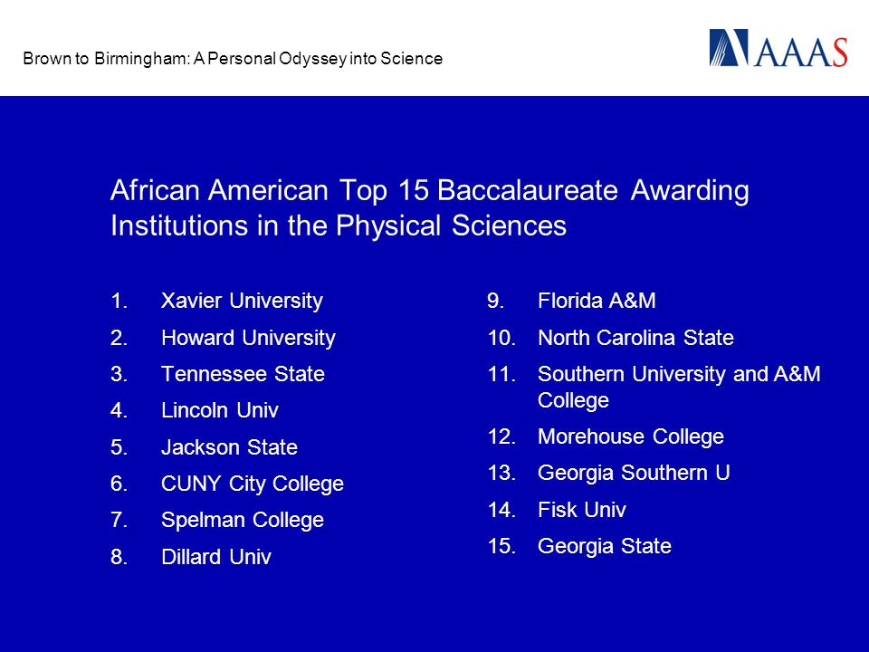 Brown to Birmingham: A Personal Odyssey into Science African American Top 15 Baccalaureate Awarding Institutions in the Physical Sciences 1.Xavier Uni