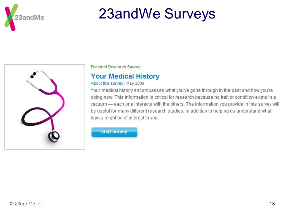 © 23andMe, Inc.18 23andWe Surveys