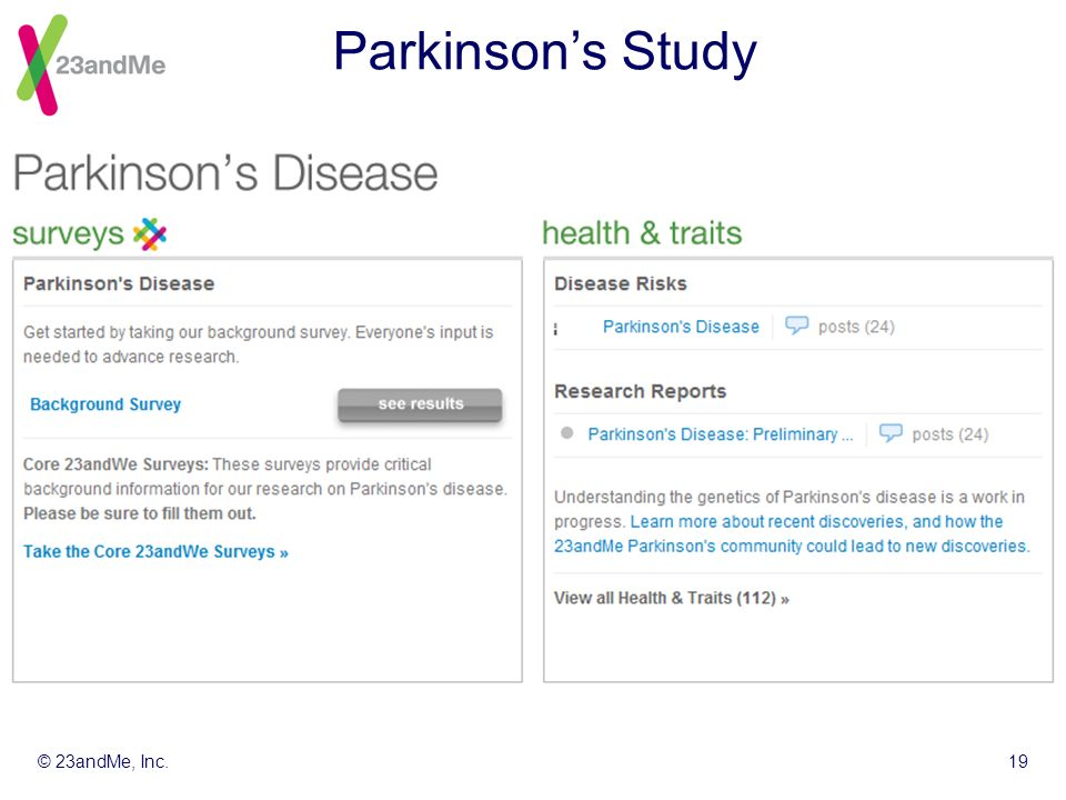 © 23andMe, Inc.19 Parkinsons Study