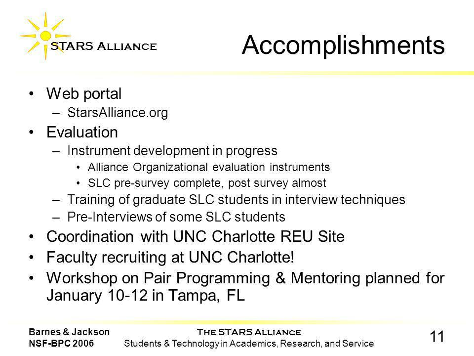 The STARS Alliance Students & Technology in Academics, Research, and Service STARS Alliance 11 Barnes & Jackson NSF-BPC 2006 Accomplishments Web portal –StarsAlliance.org Evaluation –Instrument development in progress Alliance Organizational evaluation instruments SLC pre-survey complete, post survey almost –Training of graduate SLC students in interview techniques –Pre-Interviews of some SLC students Coordination with UNC Charlotte REU Site Faculty recruiting at UNC Charlotte.
