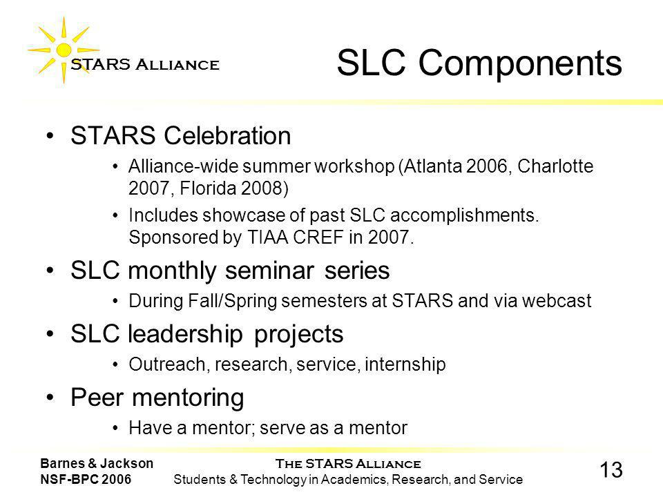 The STARS Alliance Students & Technology in Academics, Research, and Service STARS Alliance 13 Barnes & Jackson NSF-BPC 2006 SLC Components STARS Celebration Alliance-wide summer workshop (Atlanta 2006, Charlotte 2007, Florida 2008) Includes showcase of past SLC accomplishments.