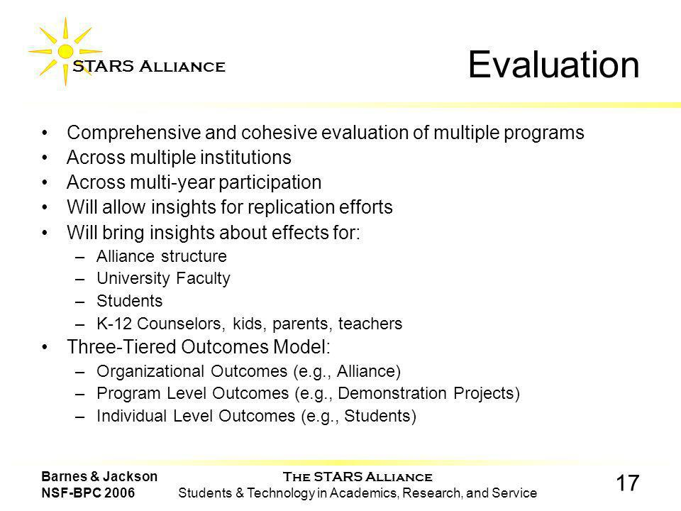 The STARS Alliance Students & Technology in Academics, Research, and Service STARS Alliance 17 Barnes & Jackson NSF-BPC 2006 Evaluation Comprehensive and cohesive evaluation of multiple programs Across multiple institutions Across multi-year participation Will allow insights for replication efforts Will bring insights about effects for: –Alliance structure –University Faculty –Students –K-12 Counselors, kids, parents, teachers Three-Tiered Outcomes Model: –Organizational Outcomes (e.g., Alliance) –Program Level Outcomes (e.g., Demonstration Projects) –Individual Level Outcomes (e.g., Students)