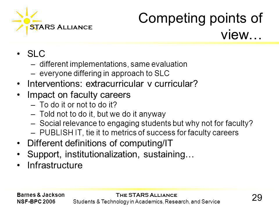 The STARS Alliance Students & Technology in Academics, Research, and Service STARS Alliance 29 Barnes & Jackson NSF-BPC 2006 Competing points of view… SLC –different implementations, same evaluation –everyone differing in approach to SLC Interventions: extracurricular v curricular.