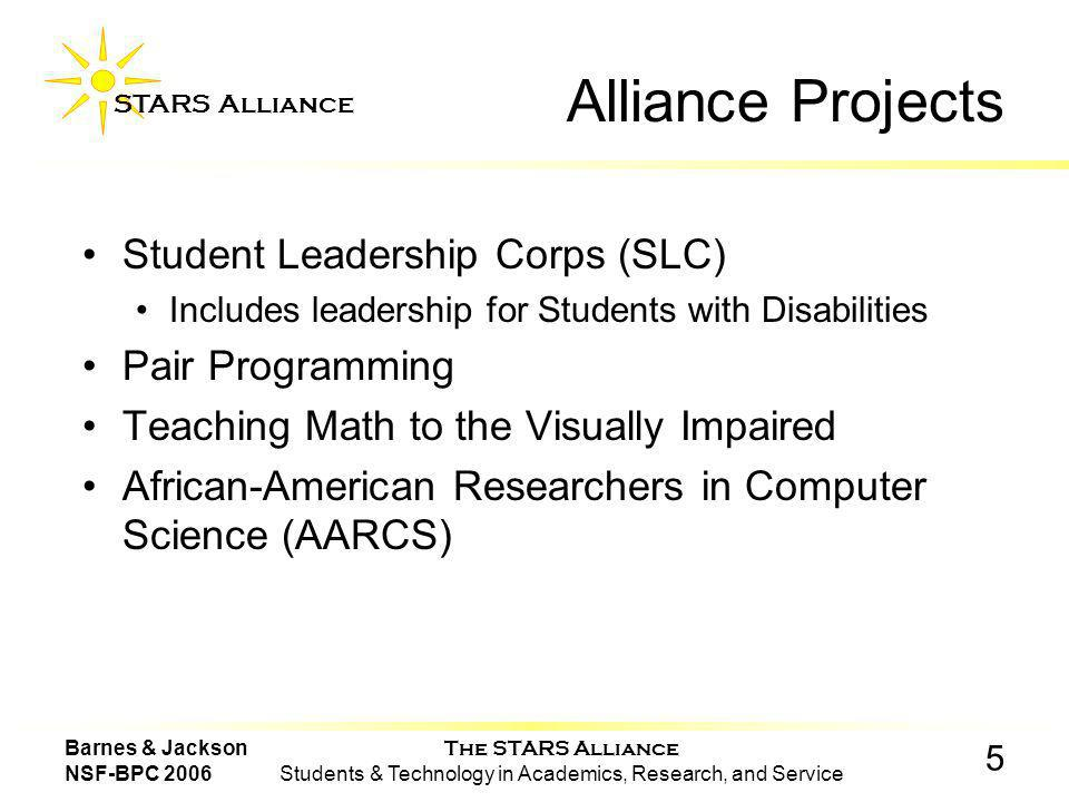 The STARS Alliance Students & Technology in Academics, Research, and Service STARS Alliance 5 Barnes & Jackson NSF-BPC 2006 Alliance Projects Student Leadership Corps (SLC) Includes leadership for Students with Disabilities Pair Programming Teaching Math to the Visually Impaired African-American Researchers in Computer Science (AARCS)