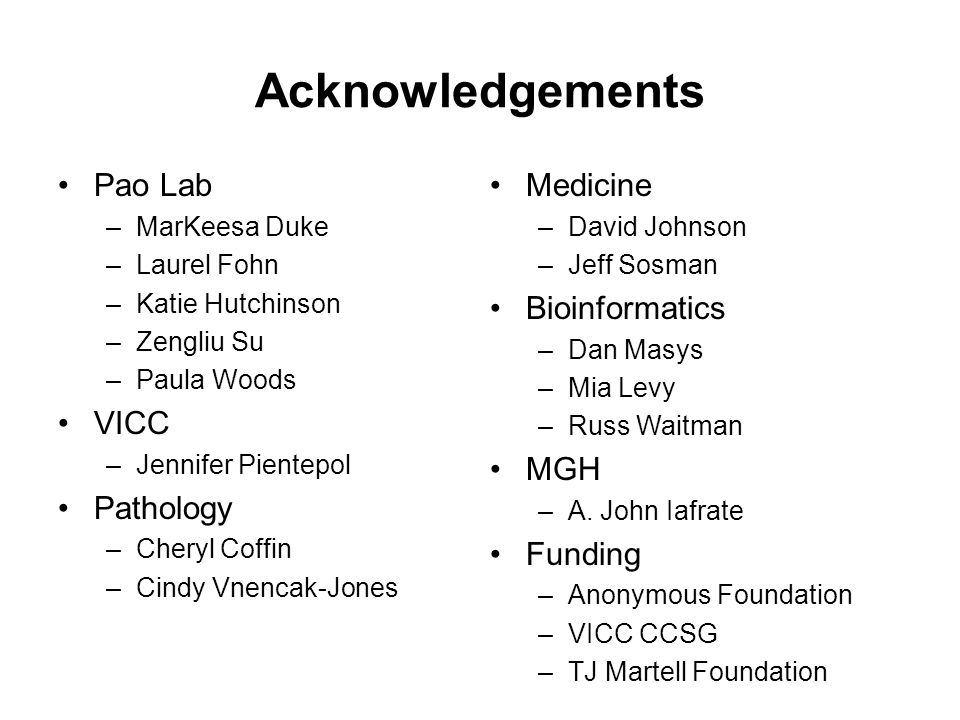 Acknowledgements Pao Lab –MarKeesa Duke –Laurel Fohn –Katie Hutchinson –Zengliu Su –Paula Woods VICC –Jennifer Pientepol Pathology –Cheryl Coffin –Cin