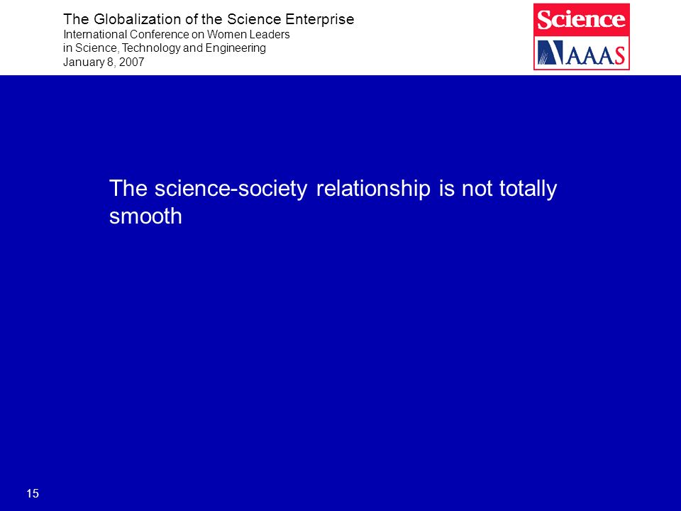The Globalization of the Science Enterprise International Conference on Women Leaders in Science, Technology and Engineering January 8, 2007 15 The science-society relationship is not totally smooth