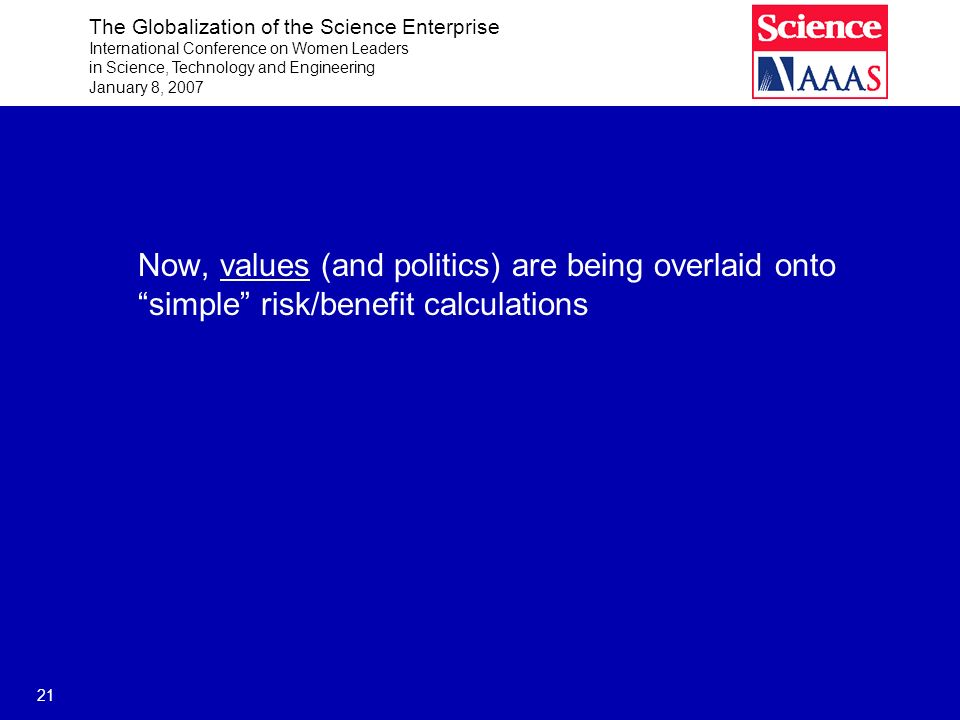 The Globalization of the Science Enterprise International Conference on Women Leaders in Science, Technology and Engineering January 8, 2007 21 Now, values (and politics) are being overlaid onto simple risk/benefit calculations