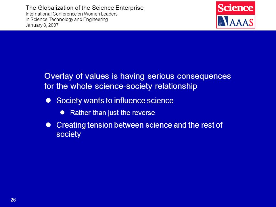 The Globalization of the Science Enterprise International Conference on Women Leaders in Science, Technology and Engineering January 8, 2007 26 Overlay of values is having serious consequences for the whole science-society relationship Society wants to influence science Rather than just the reverse Creating tension between science and the rest of society