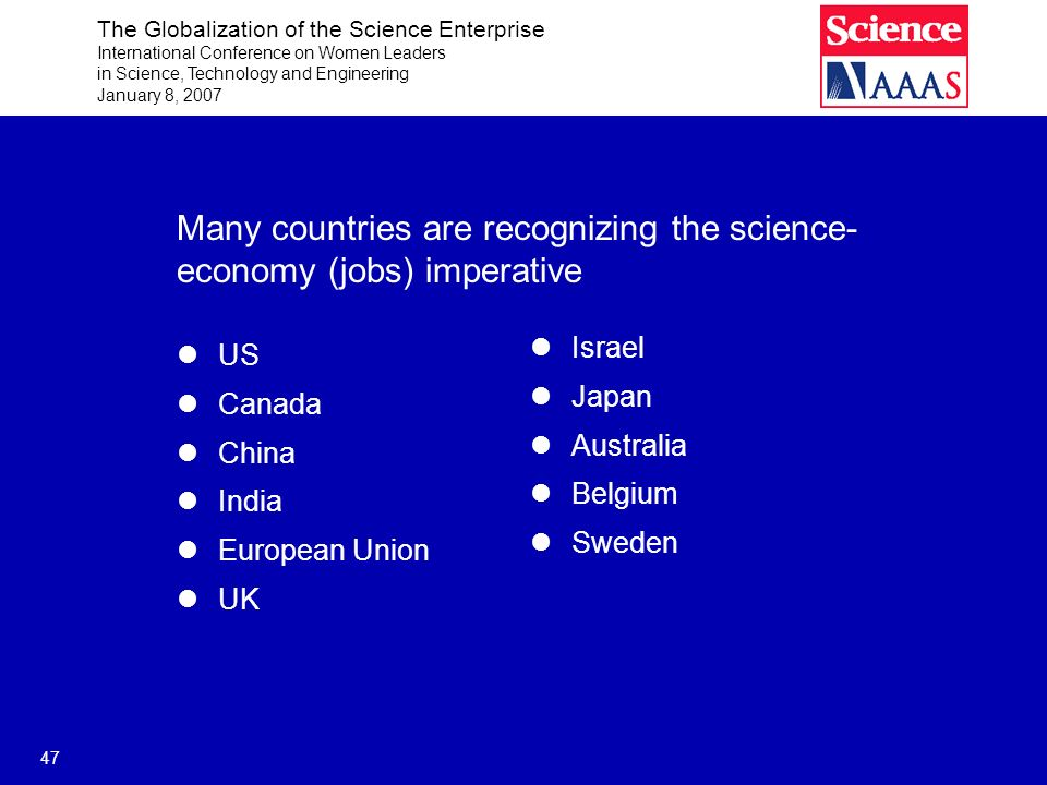 The Globalization of the Science Enterprise International Conference on Women Leaders in Science, Technology and Engineering January 8, 2007 47 Many countries are recognizing the science- economy (jobs) imperative US Canada China India European Union UK Israel Japan Australia Belgium Sweden