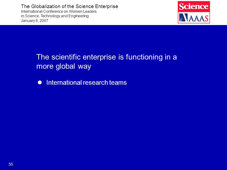 The Globalization of the Science Enterprise International Conference on Women Leaders in Science, Technology and Engineering January 8, 2007 55 The scientific enterprise is functioning in a more global way International research teams