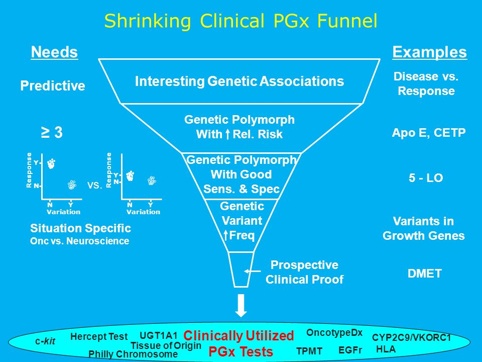 Clinically Utilized PGx Tests Shrinking Clinical PGx Funnel Hercept Test Philly Chromosome Variation Y Response N Y N Variation Y Response N Y N vs.