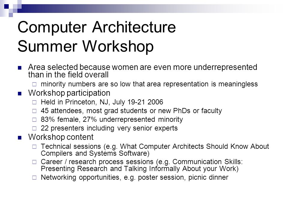 Computer Architecture Summer Workshop Area selected because women are even more underrepresented than in the field overall minority numbers are so low that area representation is meaningless Workshop participation Held in Princeton, NJ, July attendees, most grad students or new PhDs or faculty 83% female, 27% underrepresented minority 22 presenters including very senior experts Workshop content Technical sessions (e.g.