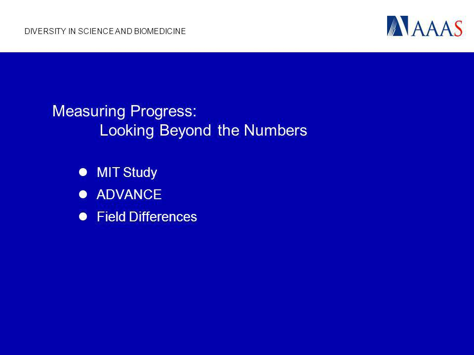 DIVERSITY IN SCIENCE AND BIOMEDICINE Measuring Progress: Looking Beyond the Numbers MIT Study ADVANCE Field Differences