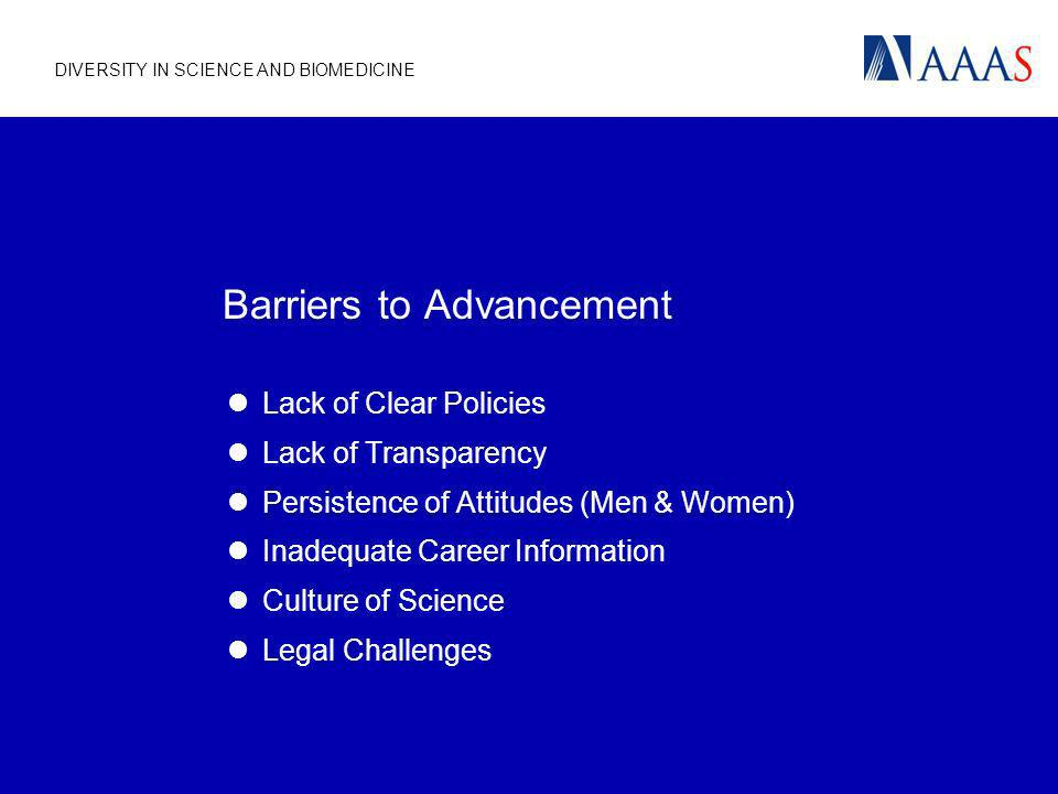 DIVERSITY IN SCIENCE AND BIOMEDICINE Barriers to Advancement Lack of Clear Policies Lack of Transparency Persistence of Attitudes (Men & Women) Inadeq