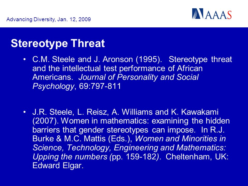 Advancing Diversity, Jan. 12, 2009 Stereotype Threat C.M.