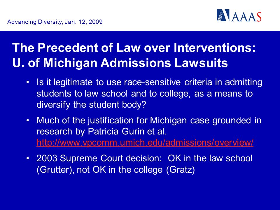 Advancing Diversity, Jan. 12, 2009 The Precedent of Law over Interventions: U.