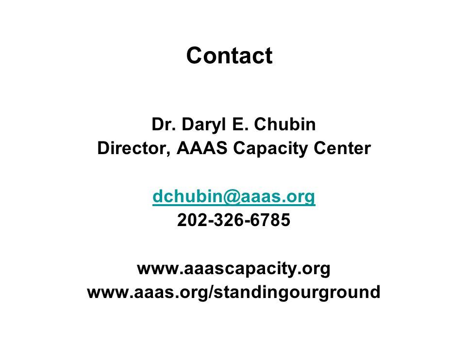 Contact Dr. Daryl E. Chubin Director, AAAS Capacity Center dchubin@aaas.org 202-326-6785 www.aaascapacity.org www.aaas.org/standingourground