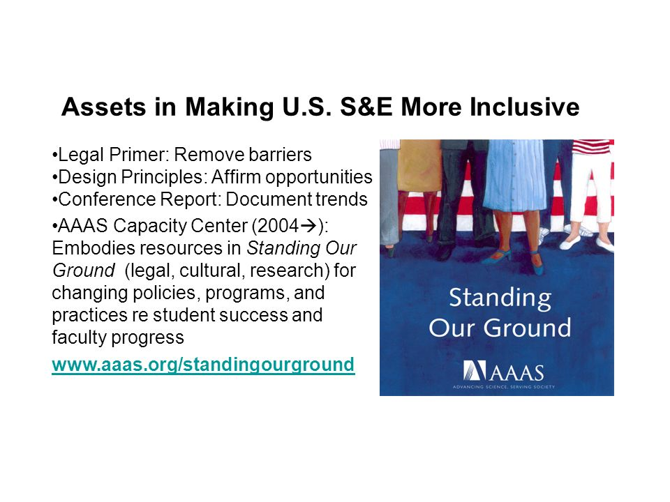 Assets in Making U.S. S&E More Inclusive Legal Primer: Remove barriers Design Principles: Affirm opportunities Conference Report: Document trends AAAS