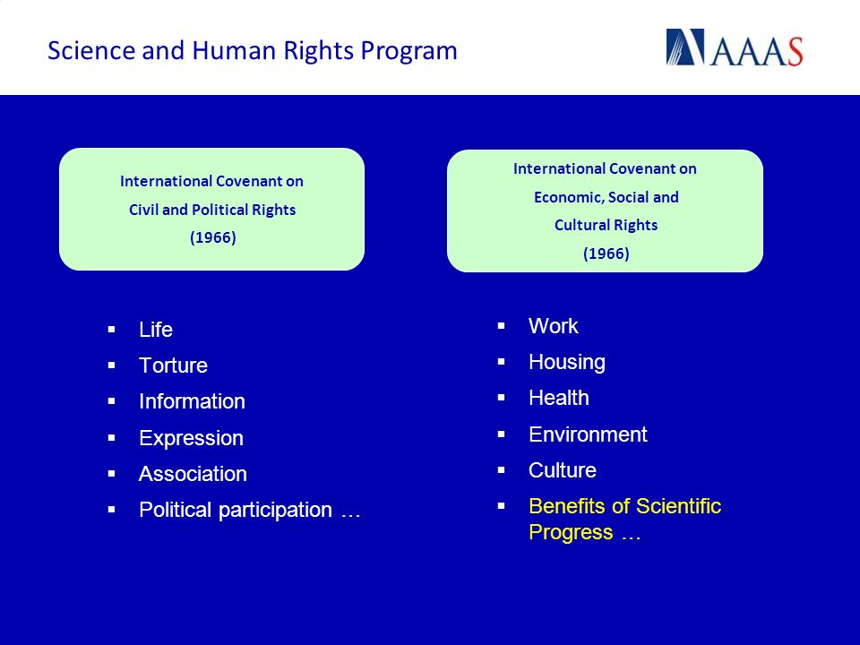 Life Torture Information Expression Association Political participation … Work Housing Health Environment Culture Benefits of Scientific Progress … In