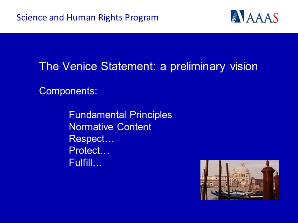 The Venice Statement: a preliminary vision Components: Fundamental Principles Normative Content Respect… Protect… Fulfill… Science and Human Rights Pr