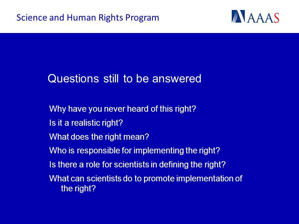 Context: International human rights framework Science and Human Rights Program