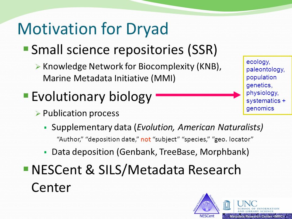 Motivation for Dryad Small science repositories (SSR) Knowledge Network for Biocomplexity (KNB), Marine Metadata Initiative (MMI) Evolutionary biology
