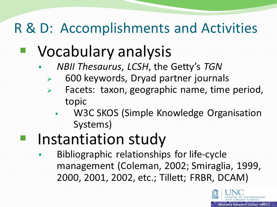 R & D: Accomplishments and Activities Vocabulary analysis NBII Thesaurus, LCSH, the Gettys TGN 600 keywords, Dryad partner journals Facets: taxon, geo