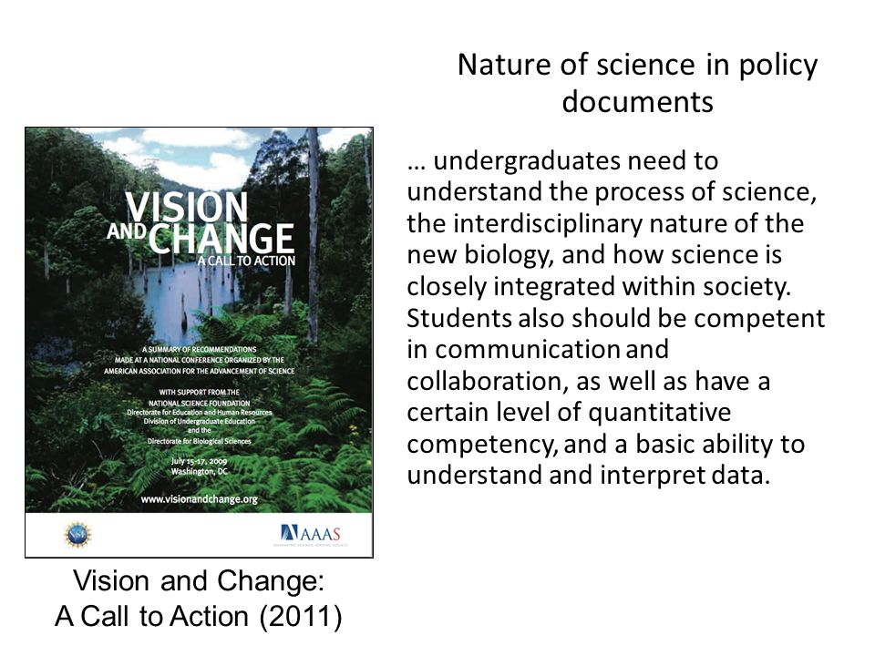 Nature of science in policy documents … undergraduates need to understand the process of science, the interdisciplinary nature of the new biology, and how science is closely integrated within society.