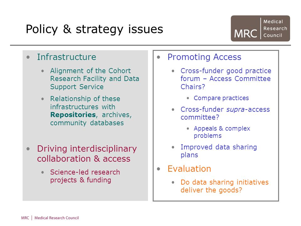 Infrastructure Alignment of the Cohort Research Facility and Data Support Service Relationship of these infrastructures with Repositories, archives, c