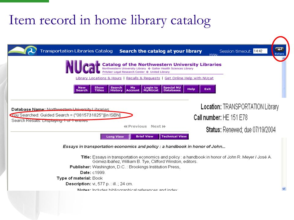 Item record in home library catalog