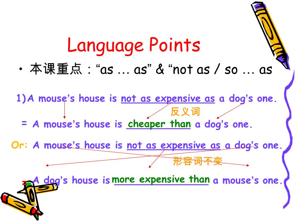 Language Points as … as & not as / so … as 1)A mouse s house is not as expensive as a dog s one.