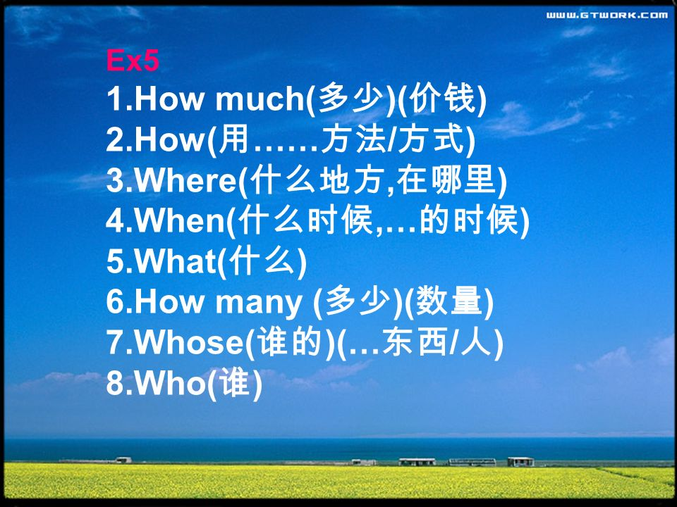 Ex5 1.How much( )( ) 2.How( …… / ) 3.Where(, ) 4.When(,… ) 5.What( ) 6.How many ( )( ) 7.Whose( )(… / ) 8.Who( )