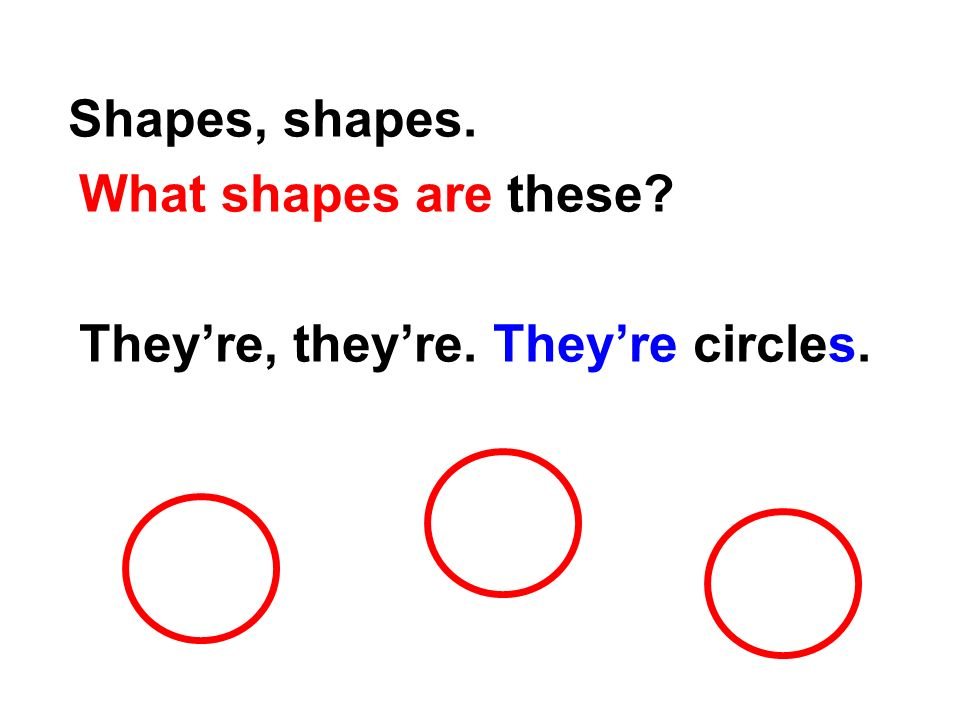 Listen, Say and Do Shapes, shapes. What shapes are these They re, they re. They re triangles.