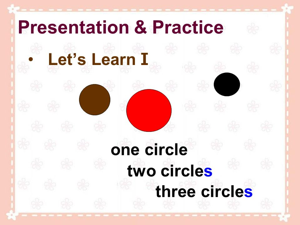 Presentation & Practice Lets Learn I one circle two circles three circles