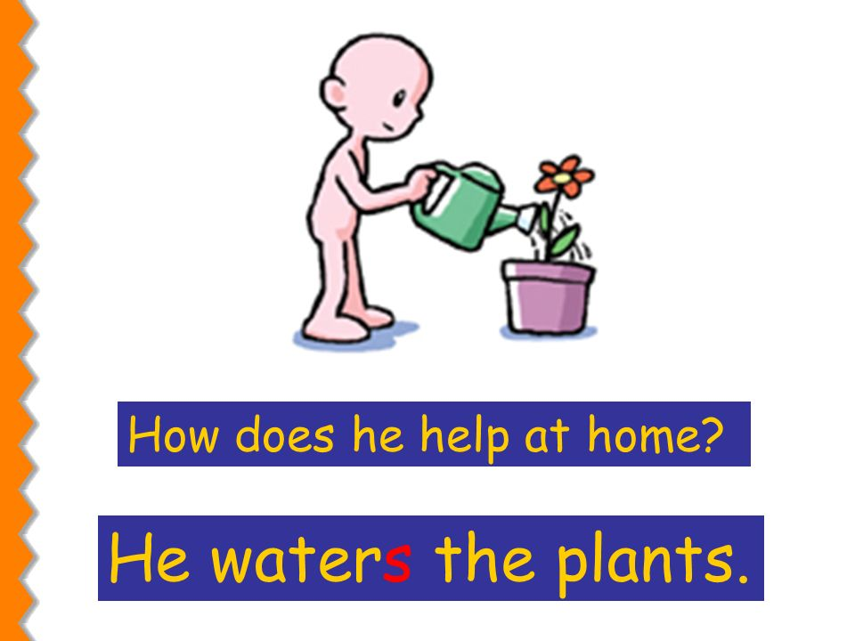 He waters the plants. How does he help at home?