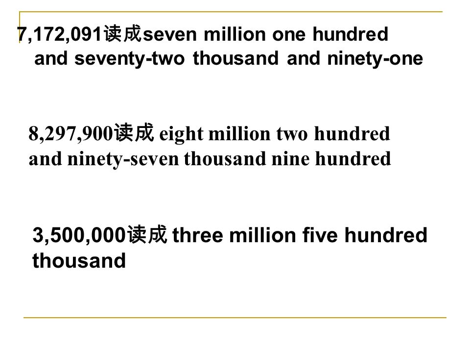 7,172,091 seven million one hundred and seventy-two thousand and ninety-one 8,297,900 eight million two hundred and ninety-seven thousand nine hundred