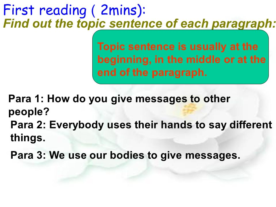 Find out the topic sentence of each paragraph: Topic sentence is usually at the beginning, in the middle or at the end of the paragraph.