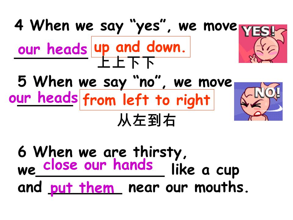 5 When we say no, we move ______ 6 When we are thirsty, we______________ like a cup and ________ near our mouths.