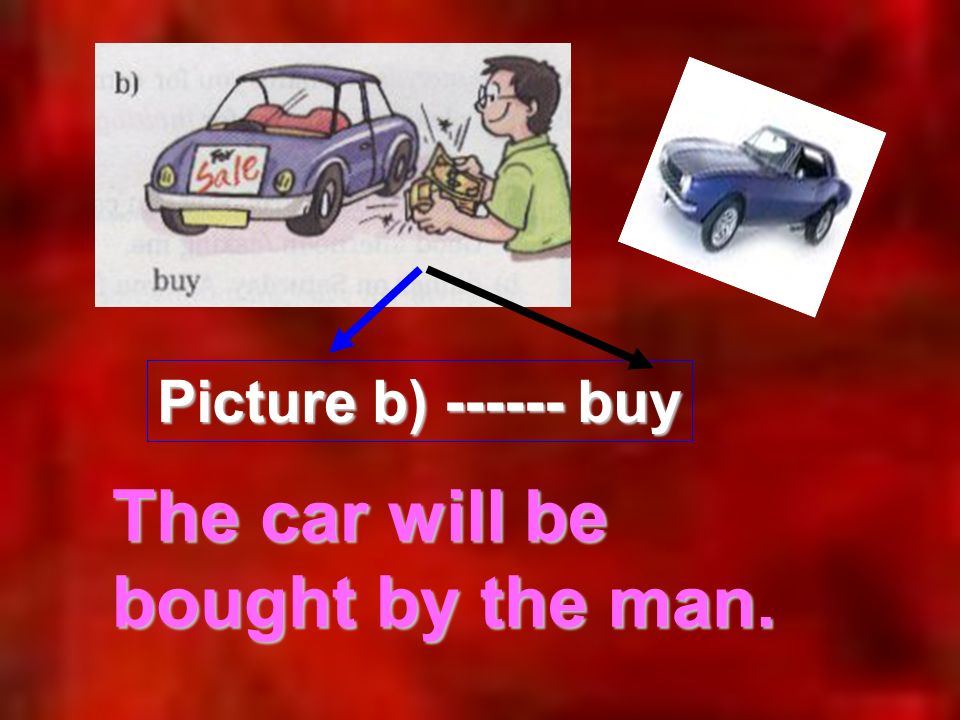 Picture b) ------ buy The car will be bought by the man.